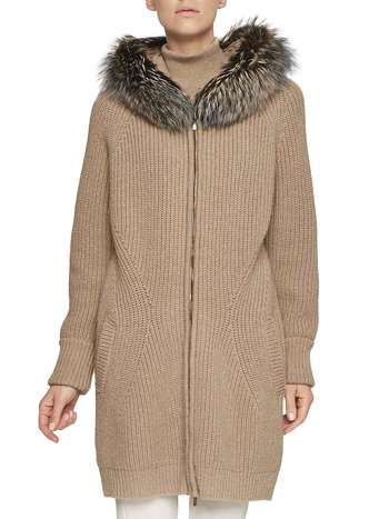 Knit Parka With Fox Fur
