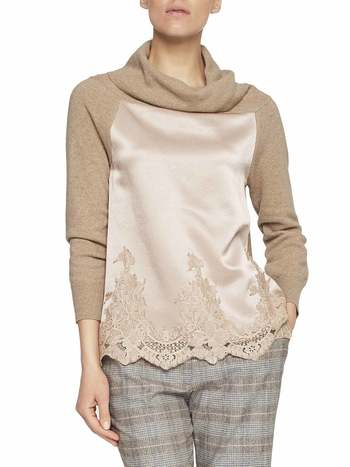 Jumper With Satin And Lace Inserts
