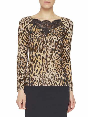 Animal-print Jumper With Lace