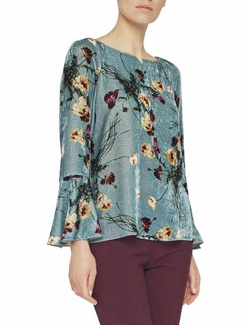 Blusa In Velluto Stampa Bouquets
