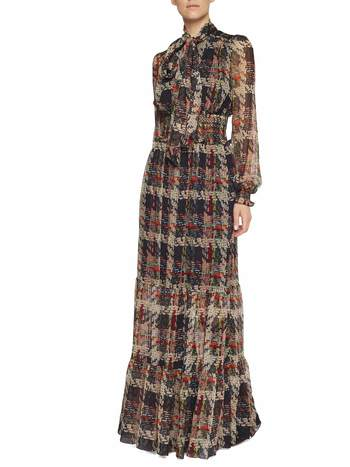 Weaving Print Silk Dress