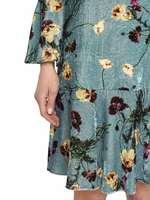 Бархатное Платье С Принтом В Виде Букетов