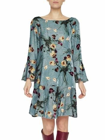 Bouquets Print Velvet Dress