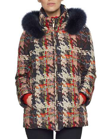 Weaving Print Quilted Down Jacket