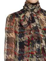 Silk Chiffon Weaving Print Blouse