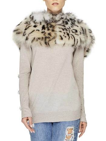 Cardigan With Fox Fur Collar