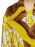 Spanish Broom Print Coat With Mink Fur