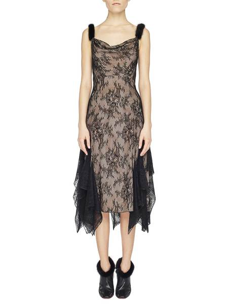 Lace Dress With Mink Fur