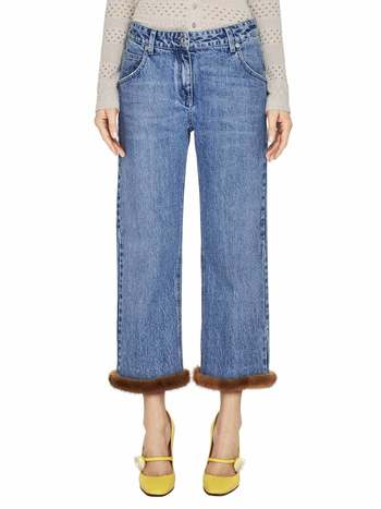 Boyfriend Jeans With Mink Fur