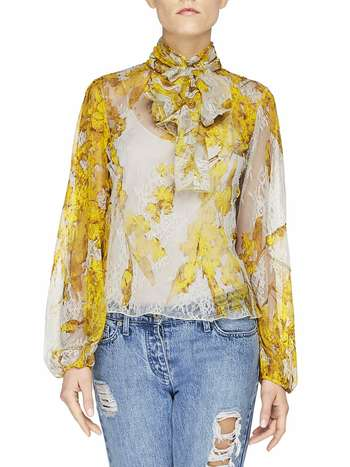 Spanish Broom Print Lace Blouse