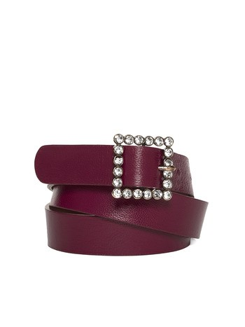 Leather Belt With Rhinestone Buckle