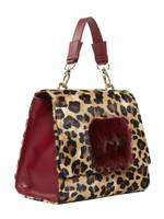 Leather Animal-Print Bag With Mink
