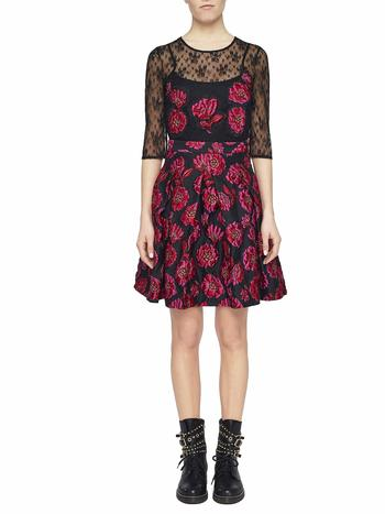Jacquard Dress With Peonies And Lace
