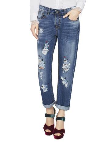 5-pocket Boyfriend Jeans With Rips