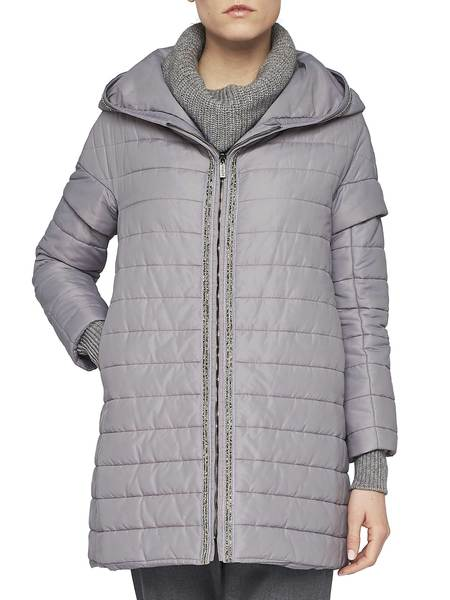 Quilted Down Jacket With Hood And Embroidery