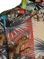 Vestido De Sarga Con Estampado Tropical Patchwork