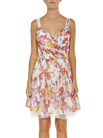 Rose Print Silk Dress