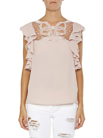 Top With Bow And Ruffles