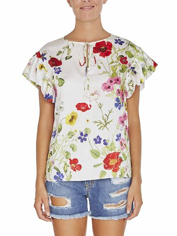 Blouse With Flowers And Flounce
