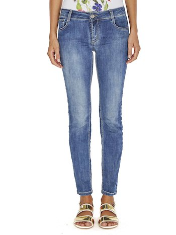 Jeans With Rhinestone Logo