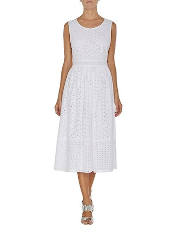 Broderie Anglaise Lace Midi Dress