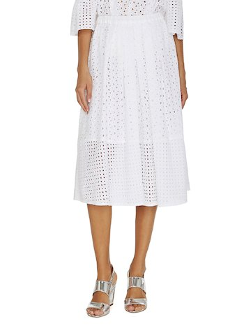 Broderie Anglaise Lace Midi Skirt