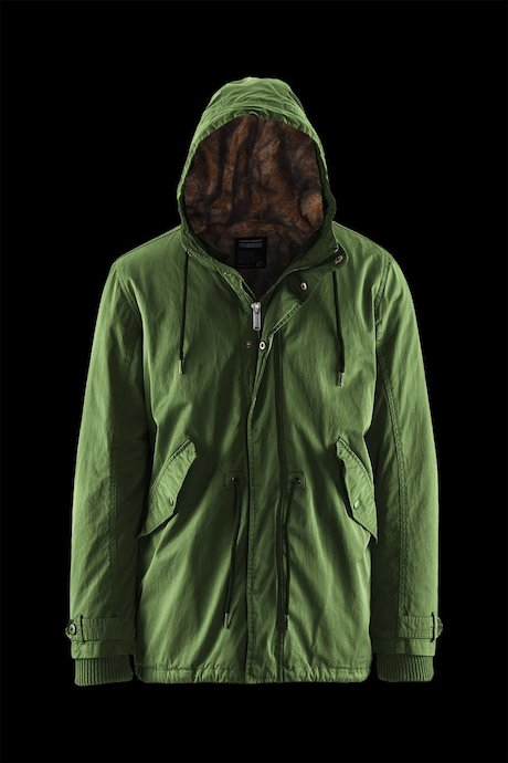 Man's parka with detachable lining
