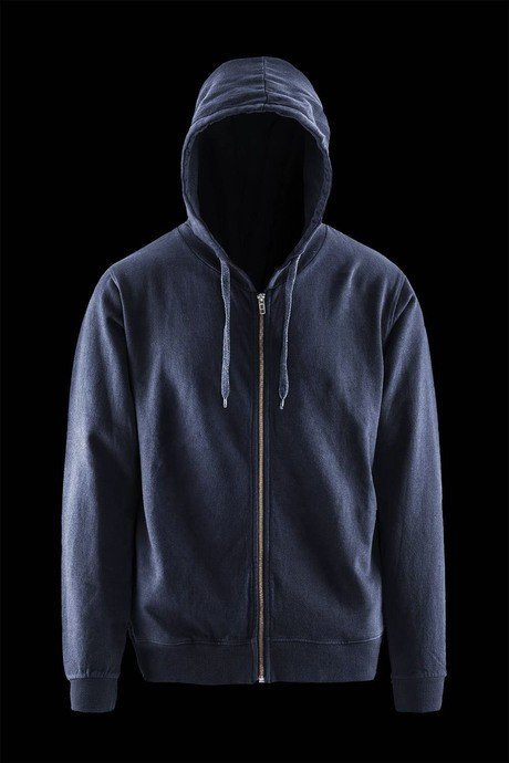 Man's hoodie with hood and frontal zip