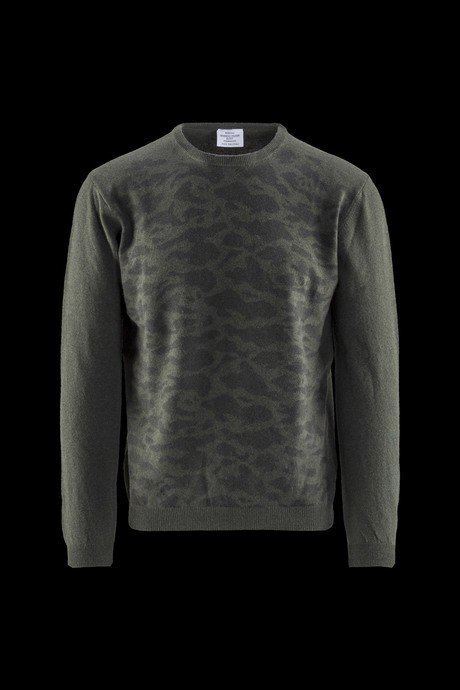Man's round neck sweater, all-over print