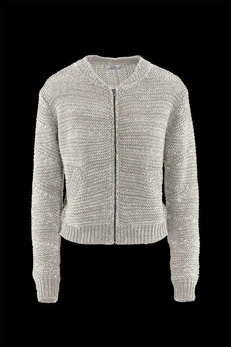 Woman's bomber knitted sweater, two colors effect