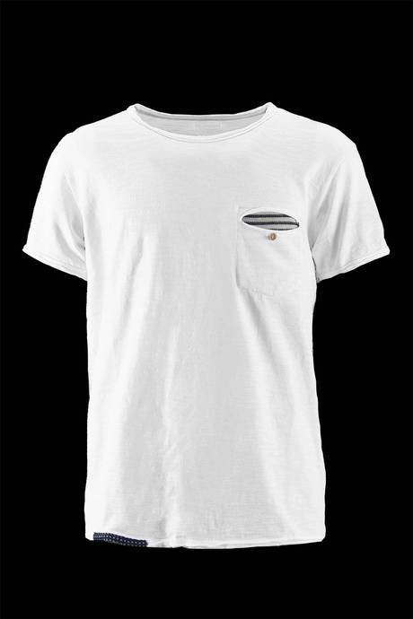 NECK T-SHIRT WITH POCKET FABRIC LINED