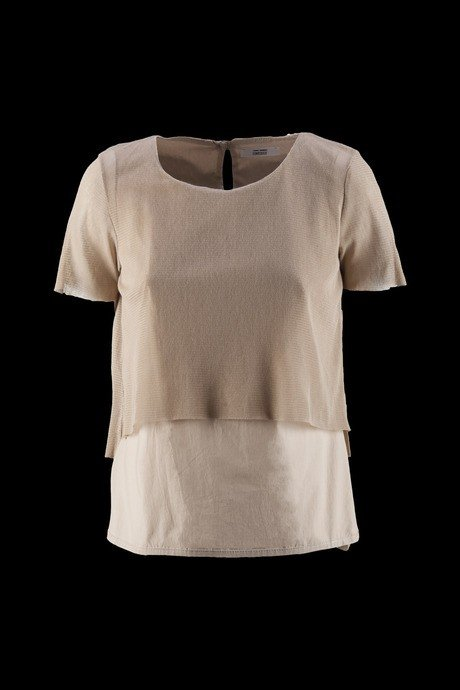 BLOUSE WOMEN SHORT SLEEVE BI-MATERICA