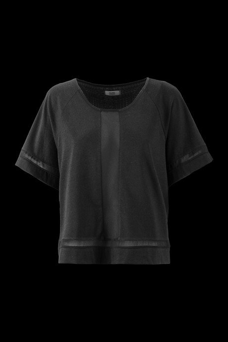 T-SHIRT DONNA  INSERTO IN GEORGETTE IN TINTA