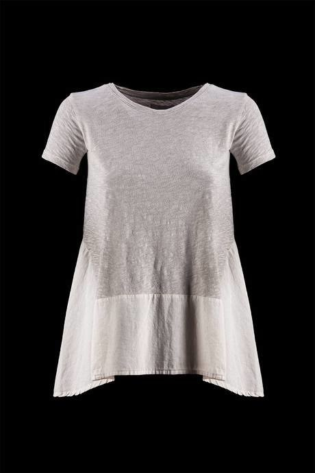 T-SHIRT WOMEN SHORT SLEEVE WITH INSERT COTTON POPLIN