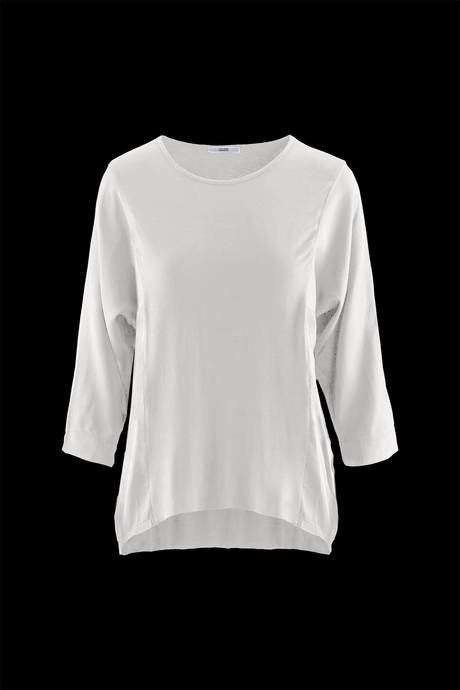 Woman's oversize bi-material t-shirt, three quarter sleeve