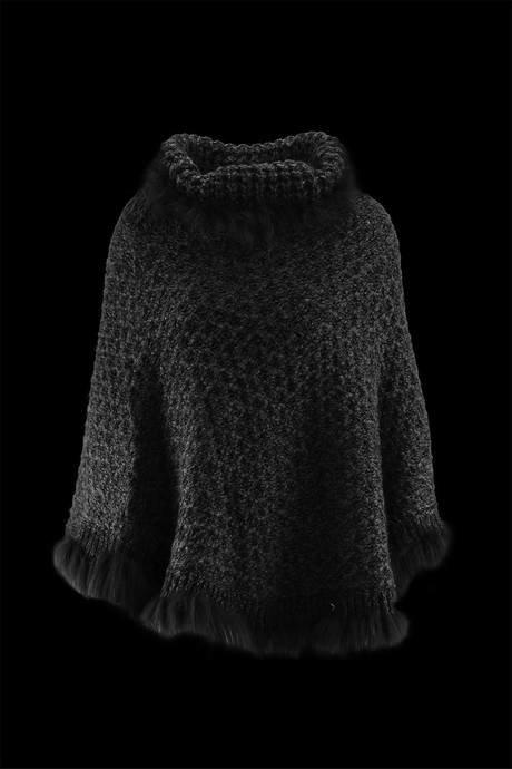 Poncho col haut pour femmes, fait en vraie fourrure et tricot