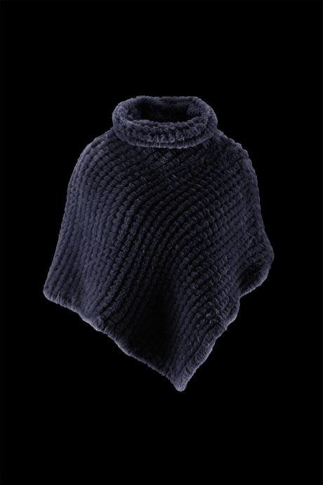 Woman's poncho high collar realised in soft and ecological fur effect lapin weaved on knitting