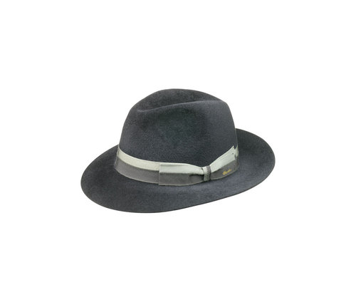 Velour felt hat with striped hatband
