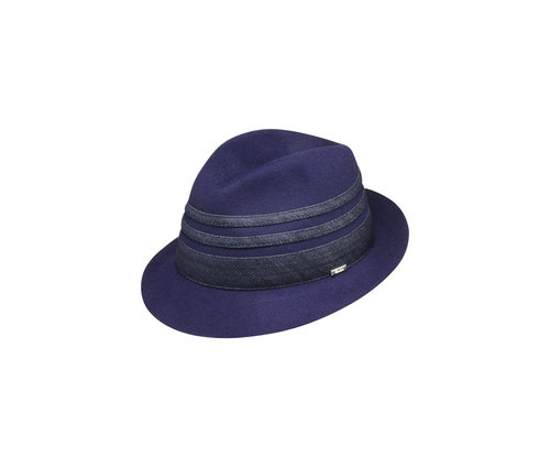 Trilby hat with denim inserts