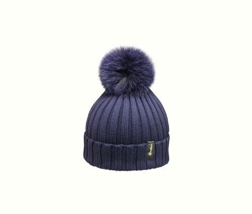 Rib-knit beanie with pom-pom