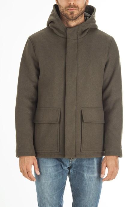 Men's long coat with hood