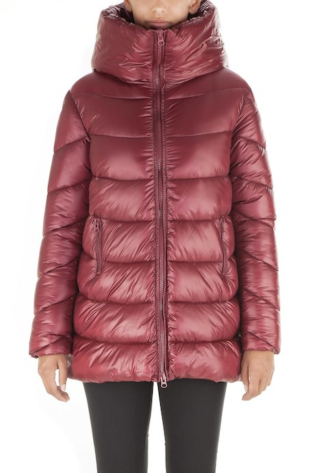 Woman's long down jacket with hood