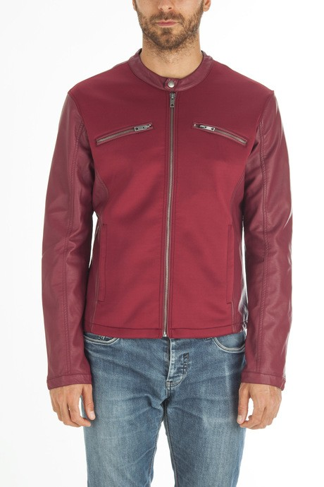 Man's leather jacket with neoprene inserts