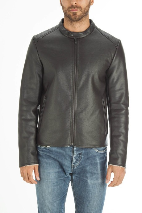 Man's  leather jacquet with sherpa interior
