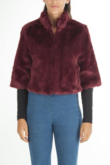 Short  faux fur jacket in solid color