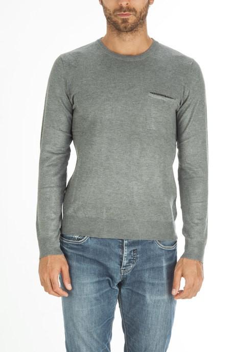 Man's jersey with pied de poule pocket