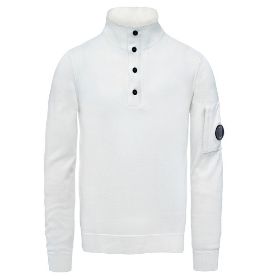 SEA ISLAND COTTON HALF BUTTON LENS SWEATER