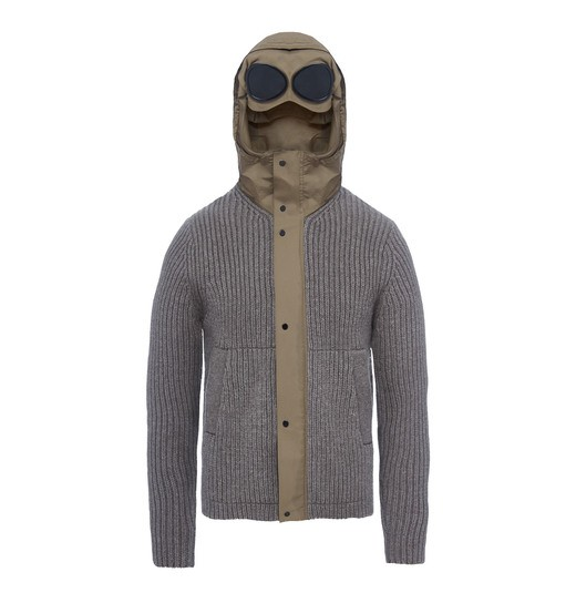 MIXED FABRIC GOGGLE KNIT JACKET