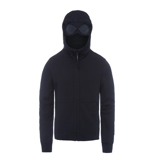 DIAGONAL FLEECE GOGGLE ZIP SWEATSHIRT