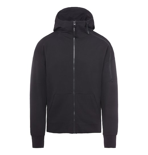 DIAGONAL FLEECE GOGGLE DOUBLE ZIP SWEATSHIRT